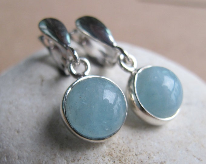 Round Aquamarine Genuine Dangle Earring- Simple Blue Aqua Drop Silver Earring- Something Blue Earring- March Birthstone Earring