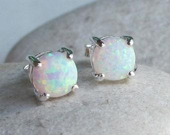 White Opal Stud- Round Rainbow Earring- Opal Boho Silver Earring- October Birthstone Earring-Classic Prong Opal Earring- Small Opal Earring