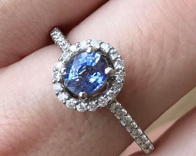 0.70ct Blue Sapphire Halo Diamond Engagement Ring- Genuine Oval Sapphire Promise Ring for Her- Sapphire White Gold Anniversary Ring