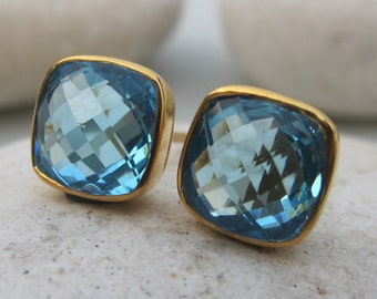 Square Blue Topaz Stud- Classic Blue Quartz Stud Earring- Minimalist Simple Blue Earring- December Birthstone Earring- Jewelry Gifts for Her