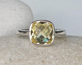 Faceted Lemon Quartz Ring- Stackable Square Gemstone Ring- Yellow Topaz Simple Ring- Sterling Silver Yellow Stone Ring- Lemon Color Ring