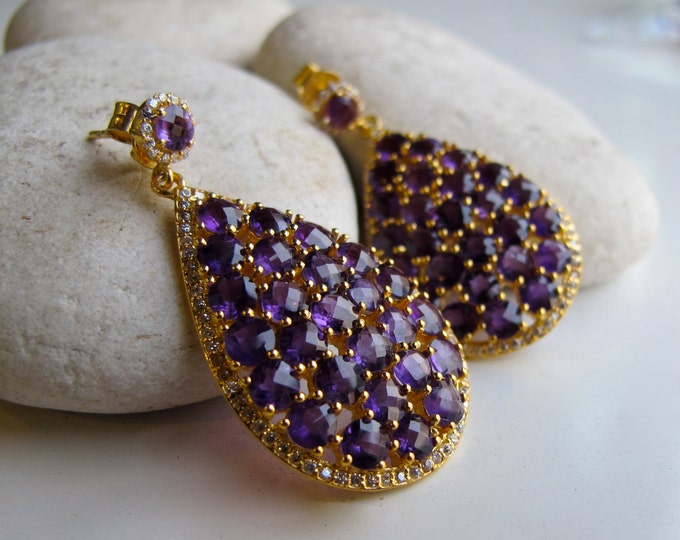 Amethyst Cluster Hoop Earring- Large Statement Hoop Earring- Boho Chic Dangle Earring- Bohemian Purple Earring- February Birthstone Earring