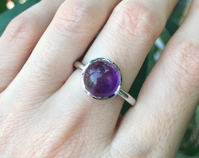 Raw Amethyst Ring Natural Genuine Sterling Silver Ring- Bezel Smooth February Birthstone Natural 925 Round Simple