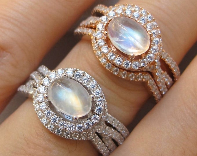 Oval Moonstone Bridal 3 Ring Set-Cabochon Moonstone Women Engagement Ring Set- Split Twist Shank Moonstone Prong Ring- Rose Gold Silver Ring