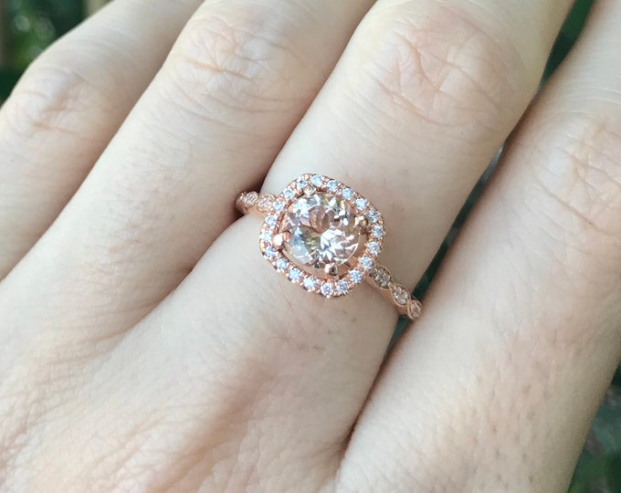 Morganite Halo Rose Gold Ring- Morganite Engagement Ring- Rose Gold Morganite Promise Ring- 14k Solid Rose Gold Morganite Solitaire Ring