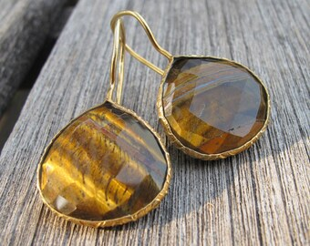 Tiger Eye Earring TearDrop Dangle Earring Brown Golden Gemstone Earring- Bohemian Gold Drop Boho Handmade Genuine Tiger Eye Earring