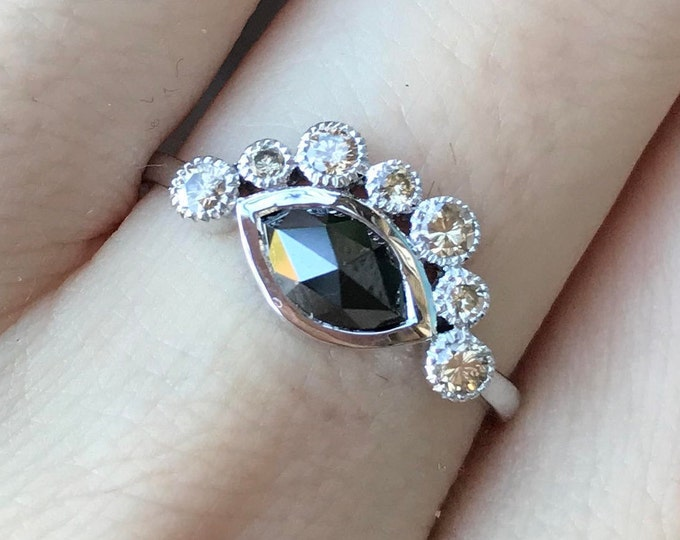 0.63ct Black Diamond Marquise Engagement Ring- White Gold Crown Champagne Diamond Promise Ring for Her- Halo Black Diamond Solitaire Ring