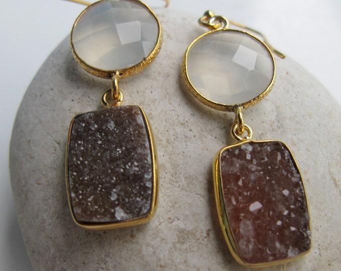 Moonstone Rectangle Brown Druzy Gemstone Earring- Long Mix Two Stone Dangle Gold Earring