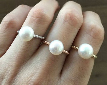 Rose Gold Ring- Real Pearl Promise Ring- Stackable Freshwater Pearl Ring- Rope Band Ring Genuine Natural Pearl Sterling Silver Gold Ring
