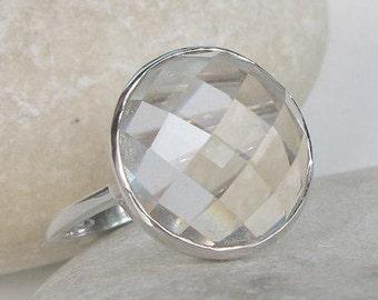 Alternative Engagement Ring- White Topaz Promise Ring- Unique Engagement Ring- Simple Engagement Ring- Clear Gemstone Engagement Ring