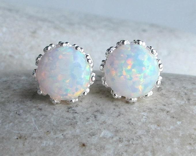 Classic White Opal Stud- Round Rainbow Opal Earring- October Birthstone Earring- Bohemian Festive Earring