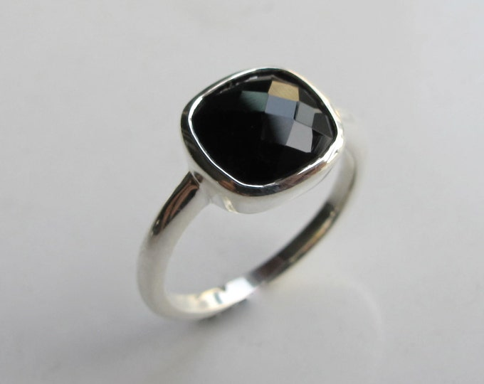 Black Onyx Square Ring- Black Cushion Stack Silver Ring- Faceted Square Bezel Ring- Simple Sterling Silver Ring