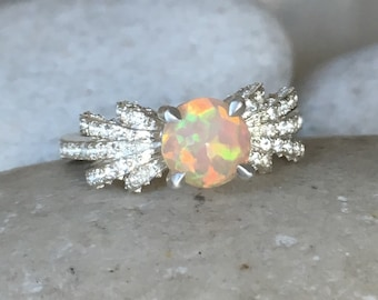 Deco Opal Engagement Ring- Round Opal Promise Ring- October Birthstone Ring- Genuine Opal Ring- Unique Opal Ring- One of A Kind Ring