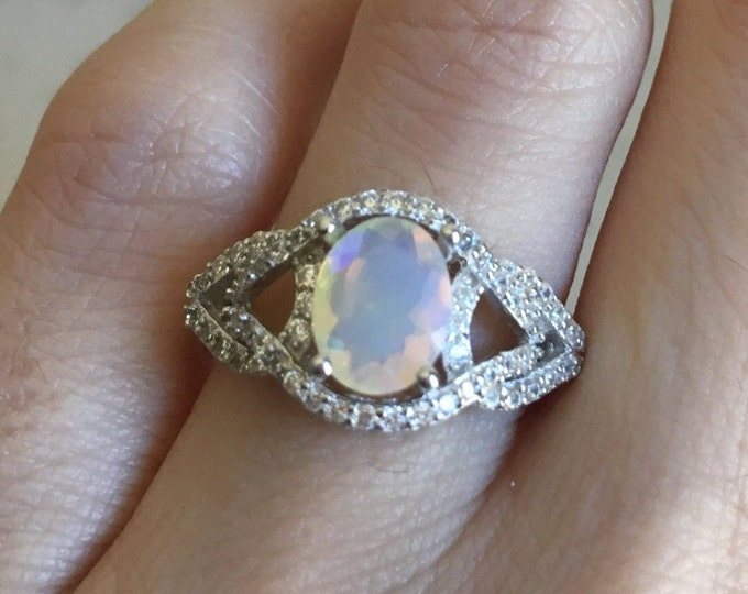 Opal Art Deco Halo Engagement Ring- Fire Opal Oval Promise Ring for Her- Welo Opal Solitaire Vintage Swirl Ring- October Birthstone Ring