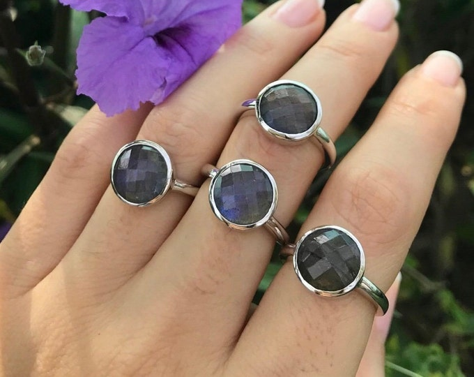 Faceted Round Labradorite Ring- Stackable Blue Gemstone Ring- Simple Sterling Silver Ring- Boho Iridescent Ring- Festive Minimalist Ring