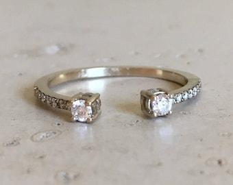 Diamond Cuff Ring Open Diamond Band Stack Simple Diamond Ring White Gold Diamond Wedding Band Pave Diamond