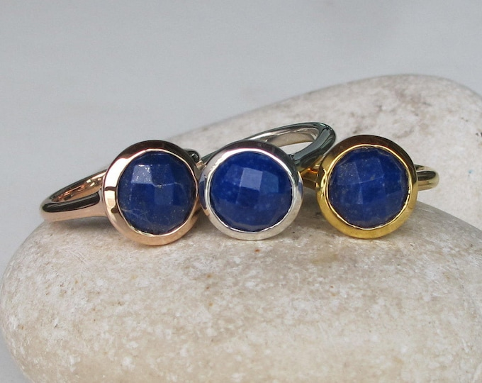 Lapis Lazuli Gold Ring Round Faceted Genuine Natural Minimalist Gold Ring Custom Sizing December Birthstone Simple Blue Gemstone Ring