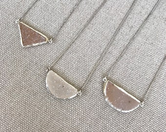 Triangle  Statement Druzy Necklaces- Sparkly Raw Gemstone Necklaces- Half Moon Druzy Necklace- Unique Layering Sterling Silver Necklace