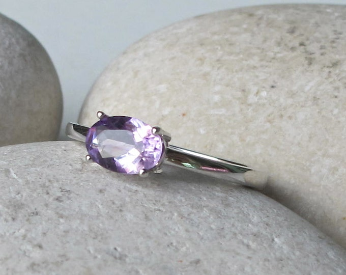 Purple Amethyst Silver Oval Dainty Stack Ring- Small Amethyst 4 Prong Ring- Ring for Teen Children- February Birthstone Ring