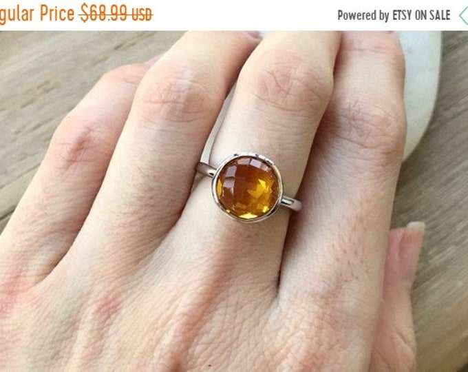 40% OFF SALE Round Citrine Ring- November Birthstone Ring- Yellow Topaz Ring- Topaz Ring