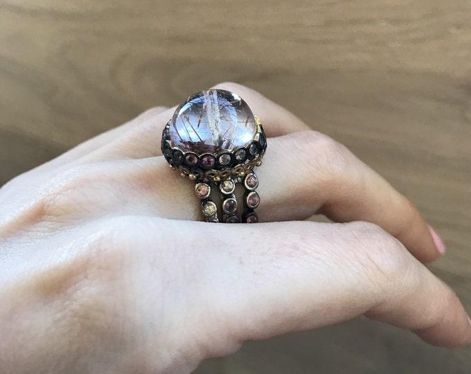Mystical Statement Ring- Rutilated Quartz Dome Ring- Unique Artisan Gemstone Ring- Designer Cabochon Dome Ring- Unique Stone Ring