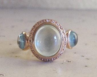 Unique Statement Ring- Designer Gemstone Ring- Rose Gold Cabochon Ring- Mutistone OOAK Ring
