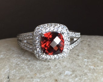 Cushion Garnet Engagement Ring- Garnet Promise Ring- January Birthstone Ring- Solitaire Silver Ring- Square Shaped Ring- Red Gemstone Ring