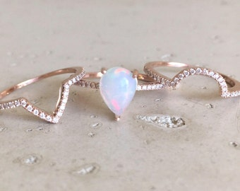 Fire Genuine Opal Engagement Ring Set-Rose Gold 1ct Opal Bridal Ring Set-Pear Halo Opal Diamond Ring-3 Piece Ring Set Rose Yellow White Gold