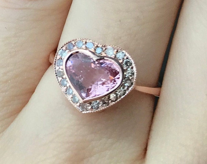 1.65ct Heart Pink Tourmaline Rose Gold Ring- Genuine Tourmaline Halo Engagement Ring- Heart Shaped Promise Ring- Pink Stone Valentine Ring