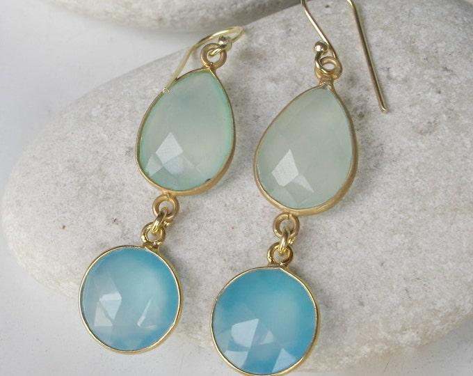 Aqua Blue Earring- Long Dangle Earring- Dual Stone Earring- Double Drop Earring- Something Blue Earring- Unique Gemstone Earring