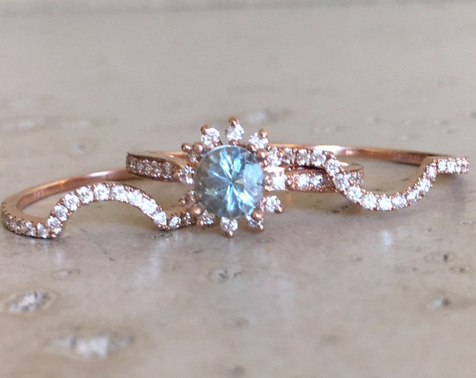 Aquamarine Halo Engagement Ring Set- Rose Gold Aquamarine Round Bridal Set- Blue Floral Engagement Ring- Aquamarine Diamond 3 Piece Ring Set