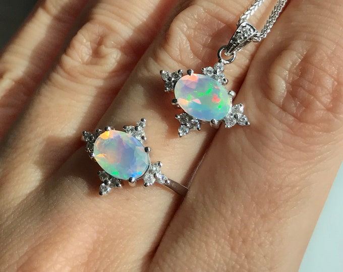 Opal Celestial Engagement White Gold Ring- Opal Diamond Necklace- Genuine Opal Jewelry Set- Oval Fire Opal Halo Ring Necklace Set