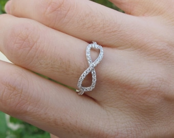 Infinity Promise Ring- Bohemian Infinity Ring- Best Friend Ring- Cubic Zirconia Infinity Ring- Minimalist Infinity Ring-Sterling Silver Ring