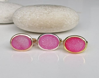 Raw Pink Druzy Ring- Rough Rose Gold Pink Ring- Simple Pink Gemstone Ring- Oval Solitaire East West Ring- Sparkly Pink Stone Ring