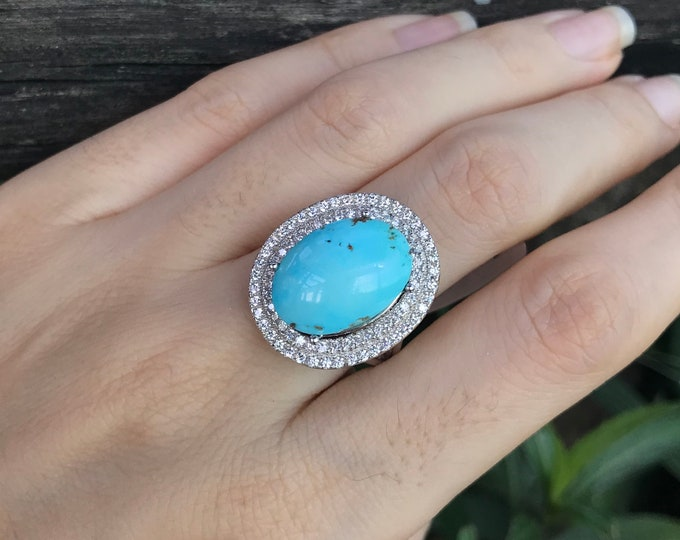 Turquoise Large Oval Halo Engagement Ring- Genuine Turquoise Promise Ring for Her- Large Turquoise Solitaire Ring- December Birthstone Ring