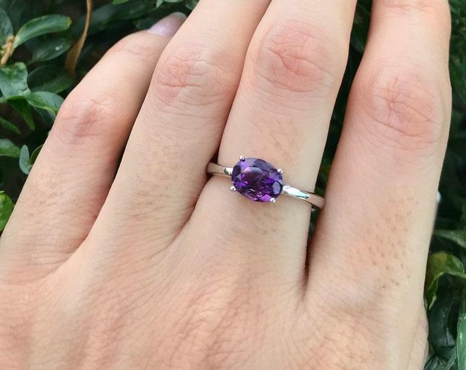 Dark Purple Amethyst Oval Silver Ring- Natural Genuine Amethyst Prong Stackable Ring- Dark Purple Small Gemstone Ring