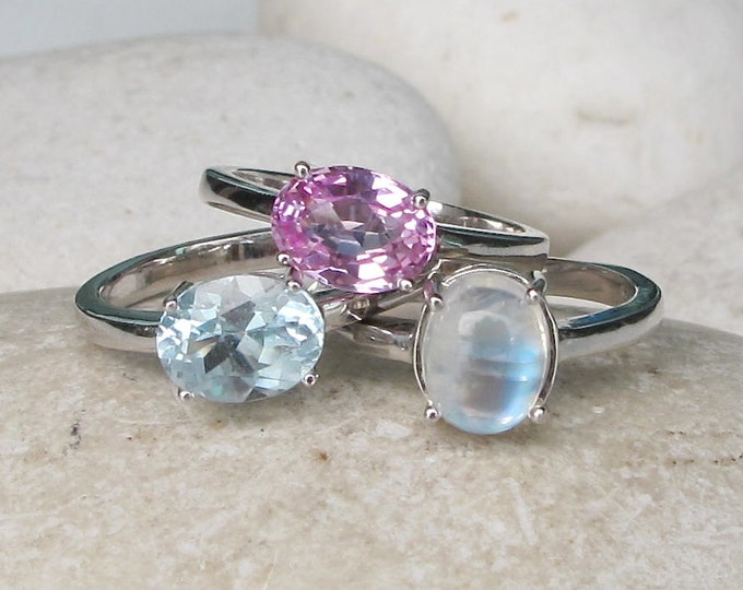 October, June, December Ring- Stackable Birthstone Ring- Colorful Statement Ring- Multistone Bold Ring- Pink Blue Topaz Moonstone Ring