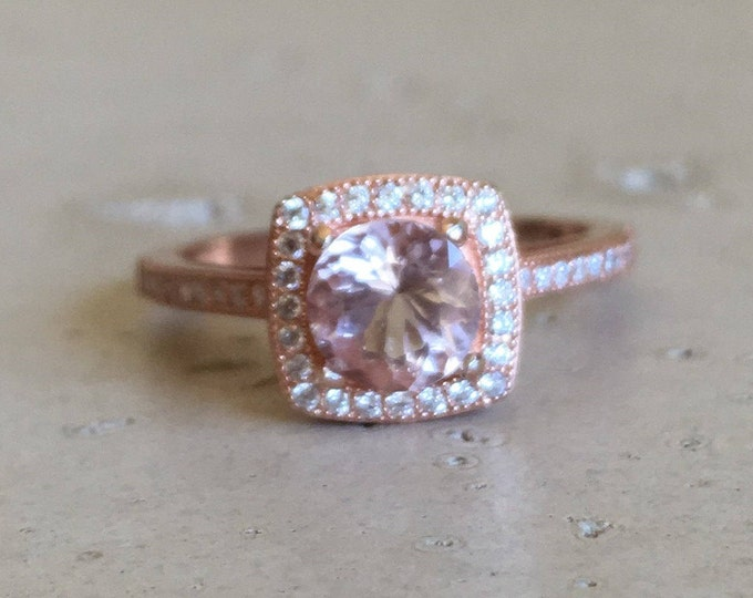 Rose Gold 0.80ct Morganite Halo Engagement Ring- Round Genuine Morganite Promise Ring for Her- Pink Gemstone Anniversary Ring
