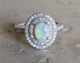 Deco Engagement Opal Ring- Halo Opal Promise Ring- October Birthstone Ring- Oval Halo Boho Ring- Opal Anniversary Solitaire Ring