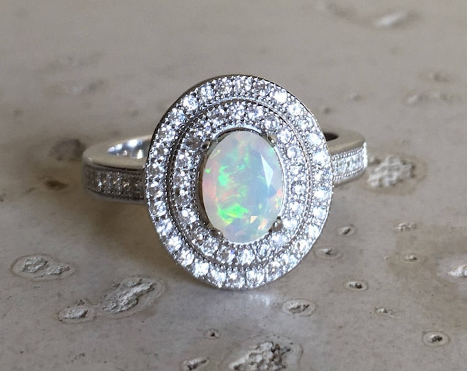 Opal Deco Engagement Halo Ring- Oval Opal Promise Ring for Her- Genuine Fire Opal Anniversary Ring- Fire Opal Solitaire Ring- October Ring