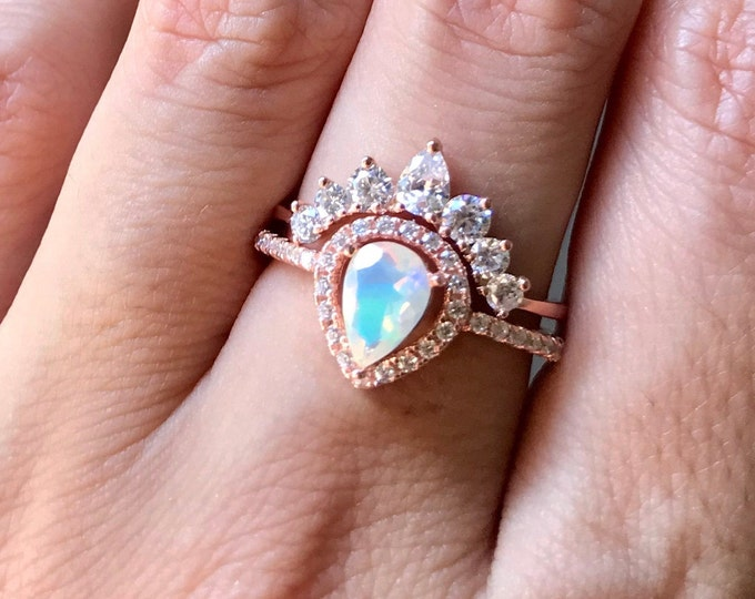 Teardrop Opal Engagement Vintage Ring Set- Opal Halo Deco Promise Ring- Pear Welo Opal Anniversary Ring- October Birthstone Ring