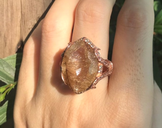 18ct Rutilated Quartz Marquise Statement Ring- Large Gold Rutile Quartz Solitaire Avant Garde Ring- Alternative Gemstone Engagement Ring