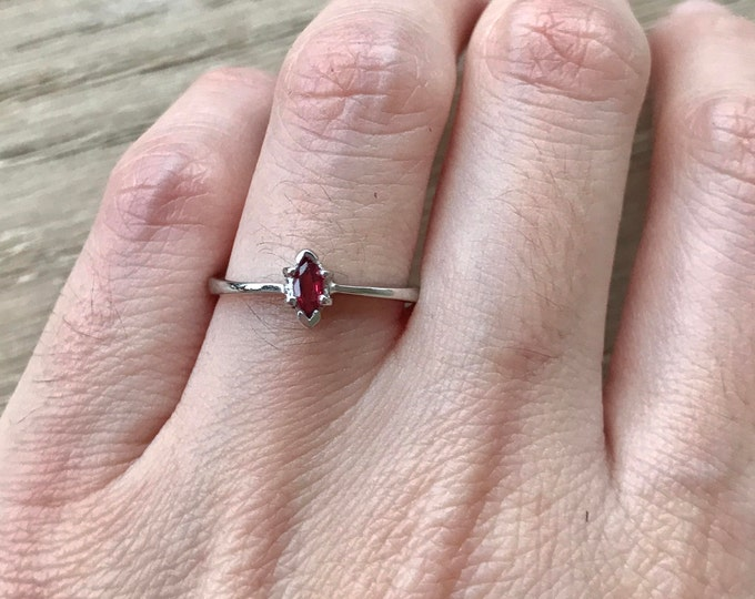 Genuine Ruby Tiny Marquise Dainty Ring- Stackable Natural Ruby Ring- July Birthstone Ring- Red Gemstone Ring- Small Ruby Ring for Teen Child