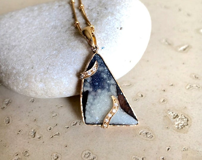 Artisan Statement Necklaces- Druzy Layering Necklaces- 18k Solid Gold Necklaces- Unique OOAK Necklace