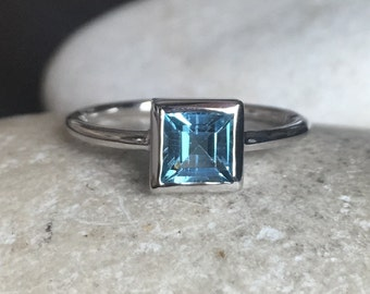 Swiss Blue Topaz Dainty Ring- Small Blue Minimalist Stackable Ring- December Birthstone Ring- Simple Square Teen Children Ring Pinky Ring