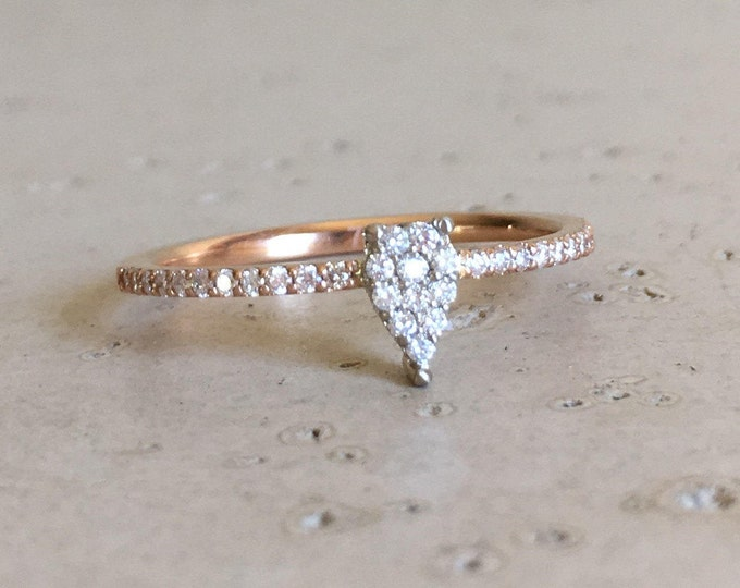 Thin Micro Pave Diamond Ring- Rose Gold Diamond Stackable Ring- Dainty Diamond Cluster Ring- Promise Diamond Ring- Pear Shape Stack Ring