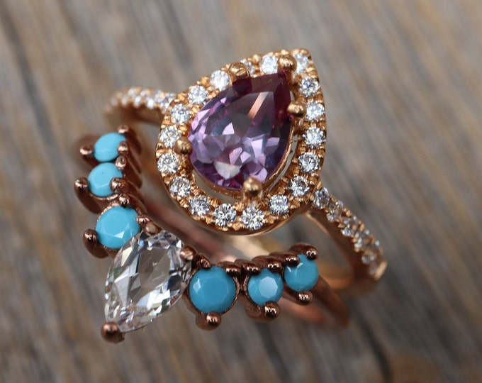 Teardrop Alexandrite Bridal 2 Ring Set- Pear Alexandrite Engagement w/Turquoise and CZ Band- Halo Color Engagement Ring with Wedding Band