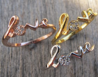 Diamond Love Ring, Best Friend Ring, Statement Friendship Ring, Diamond Promise Ring, Rose Gold Ring, April Birthstone Ring, Gifts for Her