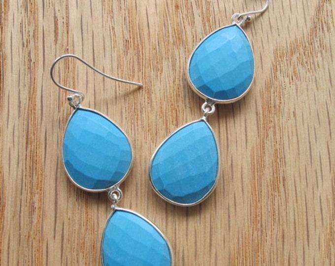 Silver Turquoise Large Dangle Earring- Blue Turquoise Tear Earring- Raw Turquoise Double Drop Earring- 2 Stone Blue Earring