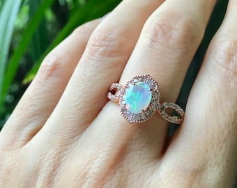 Opal Rose Gold Deco Ring- Oval Opal Double Band Engagement Ring, Opal with White Sapphire Promise Ring, October Birthstone Ring